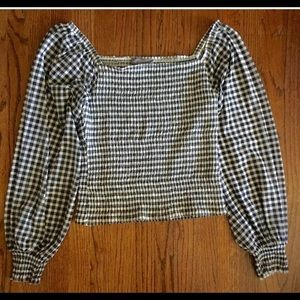 ANTHROPOLOGIE black white check blouse Large